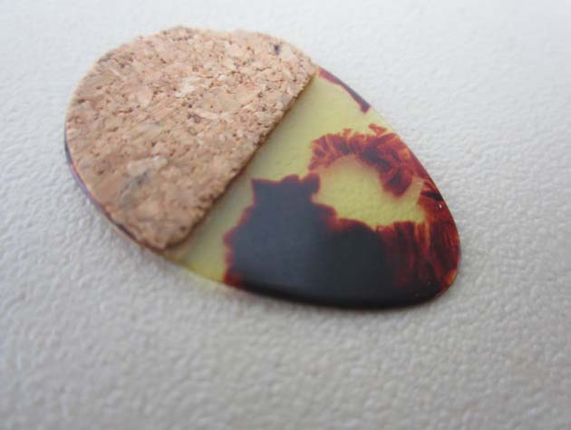 3 VINTAGE JAPANESE MOSAIC CELLULOID GUITAR PICKS WITH CORK GRIPS